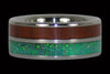Padauk and Green Lab Opal Titanium Ring - Hawaii Titanium Rings  - 1