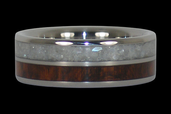White Pearl and Snakewood Titanium Ring