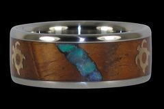 Three Falls Australian Opal Titanium Ring - Hawaii Titanium Rings  - 1