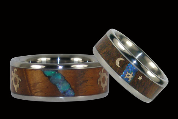 Hawaiian Honu Koa Wood and Opal Wedding Band Set
