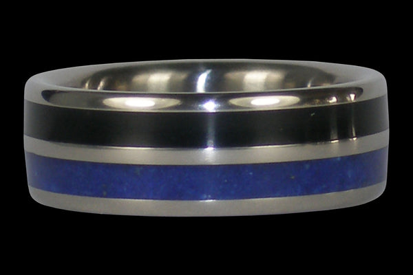 Black Wood and Blue Lapis Titanium Ring