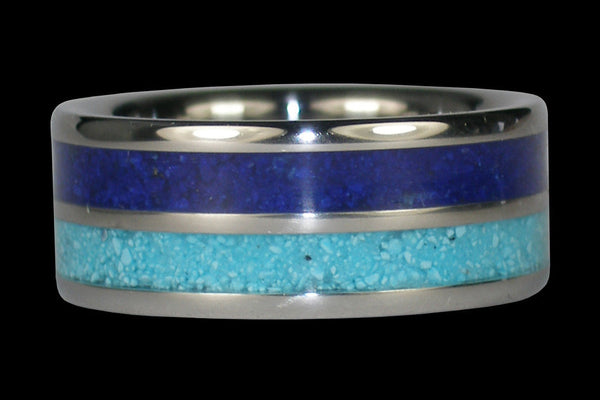 Turquoise and Lapis Titanium Ring