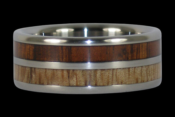 Mango and Dark Koa Wood Hawaii Titanium Ring®