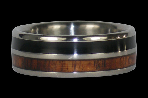 Black Jet and Koa Wood Titanium Ring