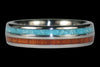 Turquoise and Koa Titanium Ring Band - Hawaii Titanium Rings  - 1