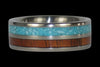 Blue Turquoise and Koa Wood Titanium Ring - Hawaii Titanium Rings  - 3