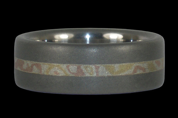 Smokey Gray Titanium Mokumegane Inlay Ring