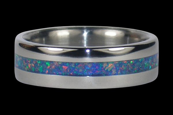 Blue Fire and Ice Lab Opal Titanium Ring Band