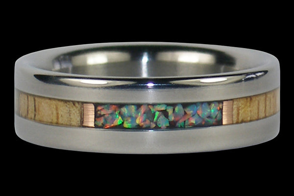 Fire and Ice Lab Opal Titanium Ring Band