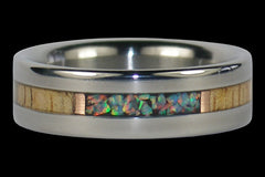 Fire and Ice Lab Opal Titanium Ring Band - Hawaii Titanium Rings