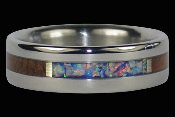 Hawaiian Milo Wood and Blue Lab Opal Titanium Ring