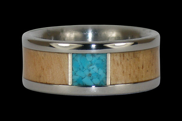 Titanium Ring with Sleeping Beauty Turquoise and Mango Wood Inlay