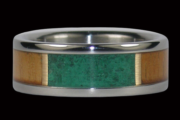 Green Malachite and Teak Wood Titanium Ring