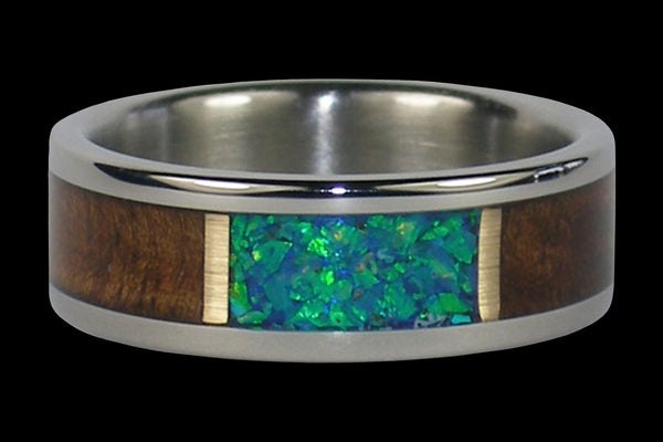 Blue Kiwi Lab Opal Titanium Ring for Men and Women