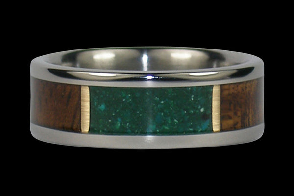 Green Chrysocolla and Koa Wood Inlay Hawaii Titanium Ring®