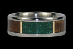 Green Chrysocolla and Koa Wood Inlay Titanium Ring - Hawaii Titanium Rings