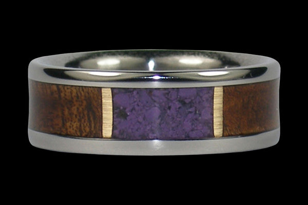 Purple Sugilite and Koa Wood Inlay Hawaii Titanium Ring®