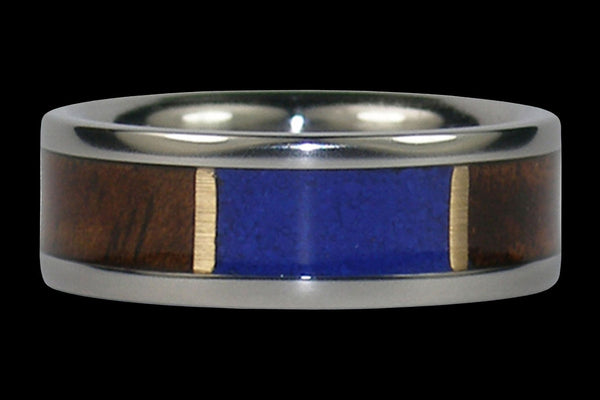 Hawaiian Milo Wood and Blue Lapis Titanium Ring