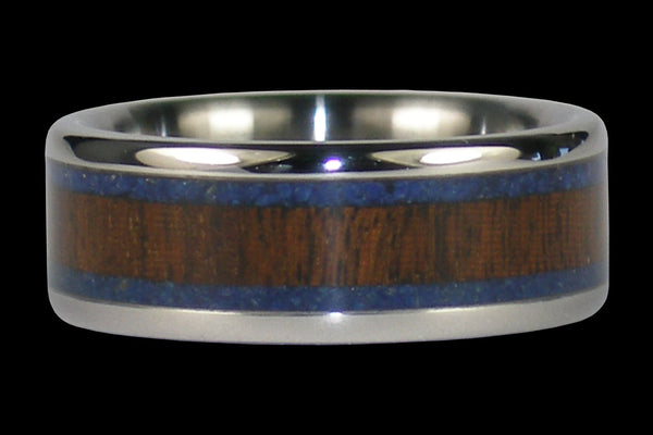 Blue Lapis and Ipe Wood Titanium Ring