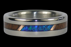 Koa Wood Opal and Gold Titanium Ring - Hawaii Titanium Rings