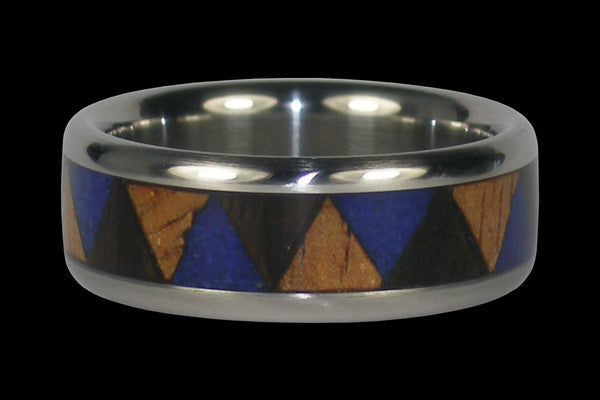 Dark Blue Lapis and Wood Inlay Titanium Ring