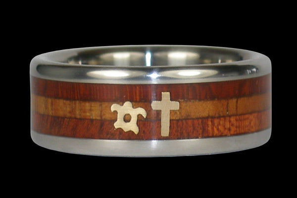 Gold Cross Wood Titanium Ring with Hawaiian Turtle