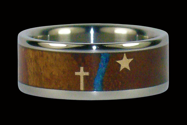 Cross and North Star Titanium Ring