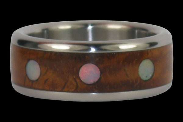 Opal Cabochon Titanium Ring Band with Exotic Wood Inlay