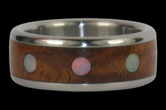 Opal Cabochon Titanium Ring Band with Exotic Wood Inlay - Hawaii Titanium Rings  - 1