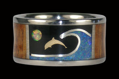 Dolphin Titanium Ring with Opal and Wood Inlay - Hawaii Titanium Rings