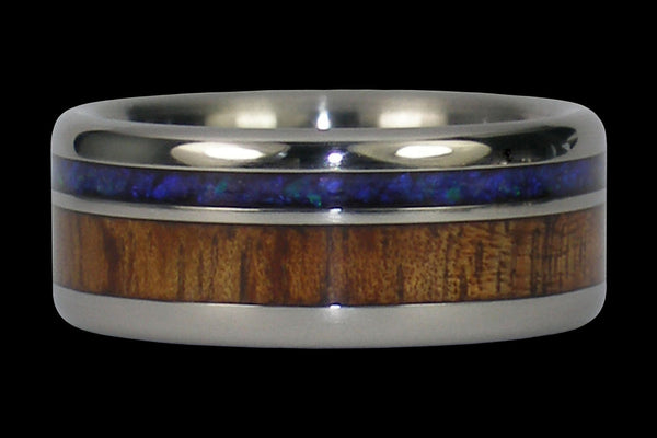 Black Opal and Dark Koa Wood Titanium Ring