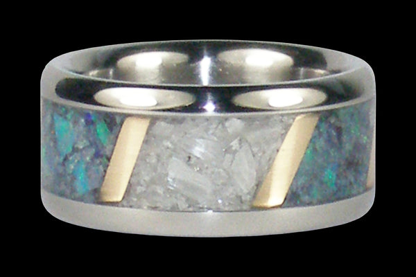 Blue Opal White Ulexite Yellow Gold Titanium Ring