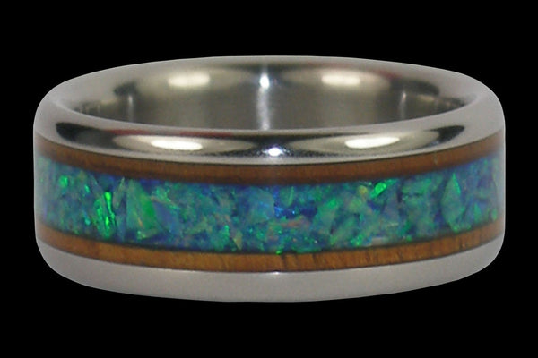 Green Opal and Koa Wood Titanium Ring