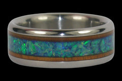 Green Opal and Koa Wood Titanium Ring - Hawaii Titanium Rings