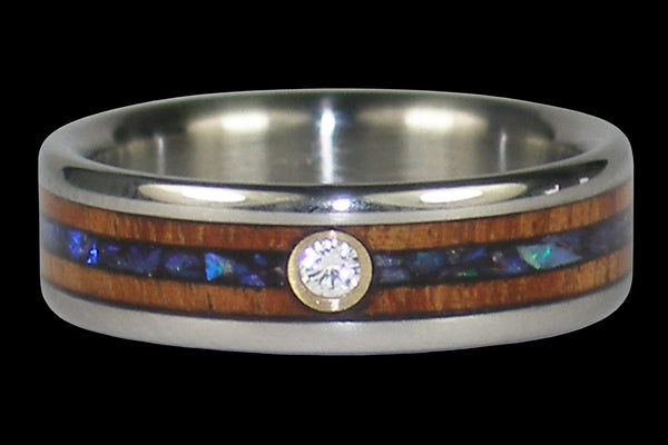 Diamond Titanium Rings with Opal and Hawaiian Wood