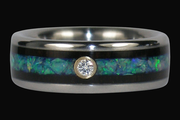 Diamond Opal Titanium Ring