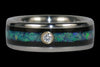 Blue Opal and Wood Diamond Titanium Ring - Hawaii Titanium Rings  - 2