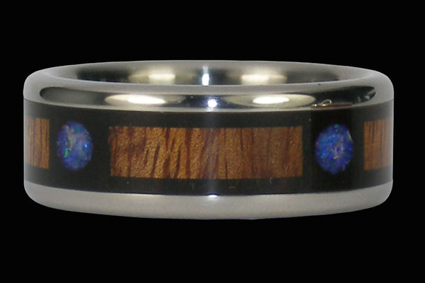 Blue Moon Opal Titanium Ring Band