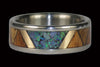 Tribal Wood and Opal Titanium Ring Band - Hawaii Titanium Rings  - 2