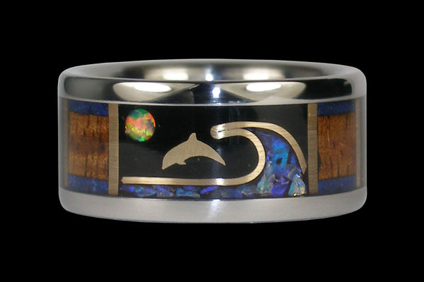 Opal and Gold Dolphin Titanium Ring