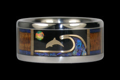 Opal and Gold Dolphin Titanium Ring - Hawaii Titanium Rings