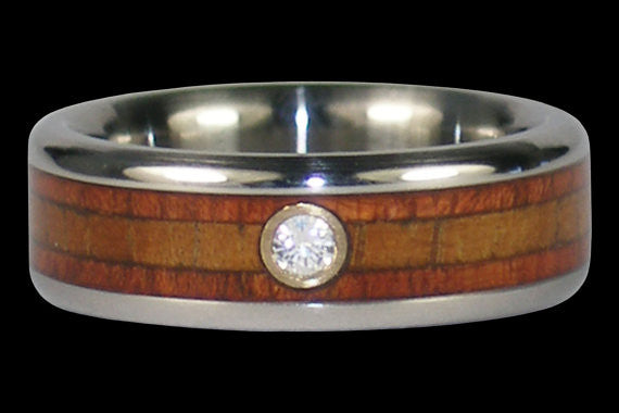 Diamond Hawaiian Koa Wood Titanium Rings