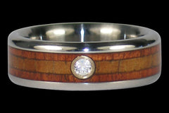 Diamond Hawaiian Koa Wood Titanium Rings - Hawaii Titanium Rings