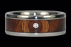 Diamond Amboyna Wood Titanium Ring Band - Hawaii Titanium Rings  - 2