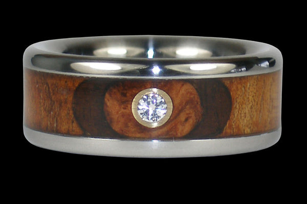 Diamond Titanium Ring Band with Exotic Wood