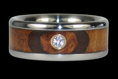 Diamond Titanium Ring Band with Exotic Wood - Hawaii Titanium Rings