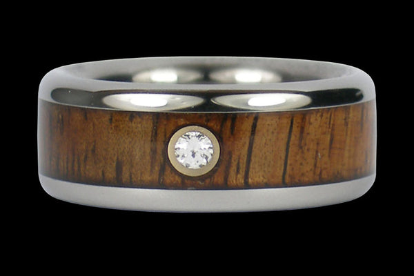 Diamond Koa Wood Titanium Wedding Ring Band
