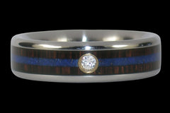Lapis and Blackwood Diamond Titanium Ring - Hawaii Titanium Rings