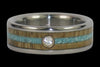 Diamond Titanium Ring Band with Turquoise and Mango Wood - Hawaii Titanium Rings  - 2