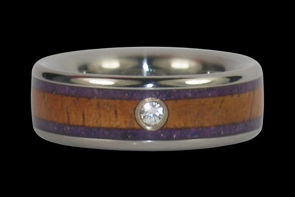 Purple Sugilite and Koa Wood Diamond Titanium Ring